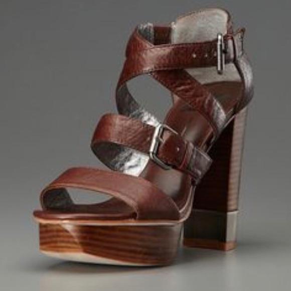 5fcaad9fa4a Dark brown stacked heel strappy platform sandal